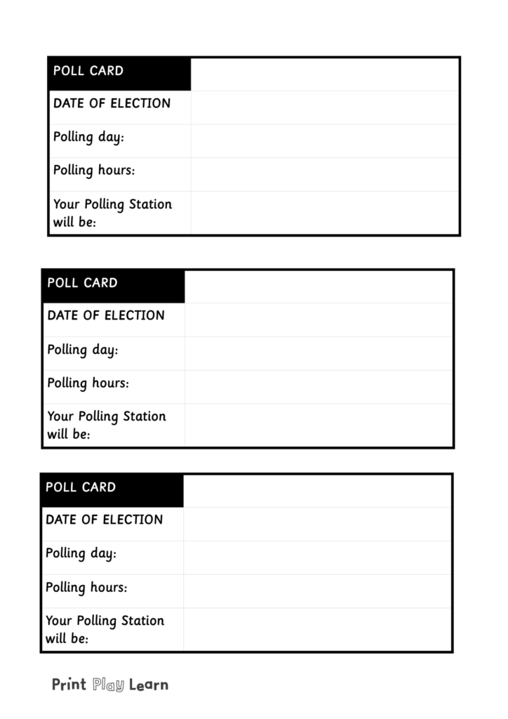 blank polling card for classroom election