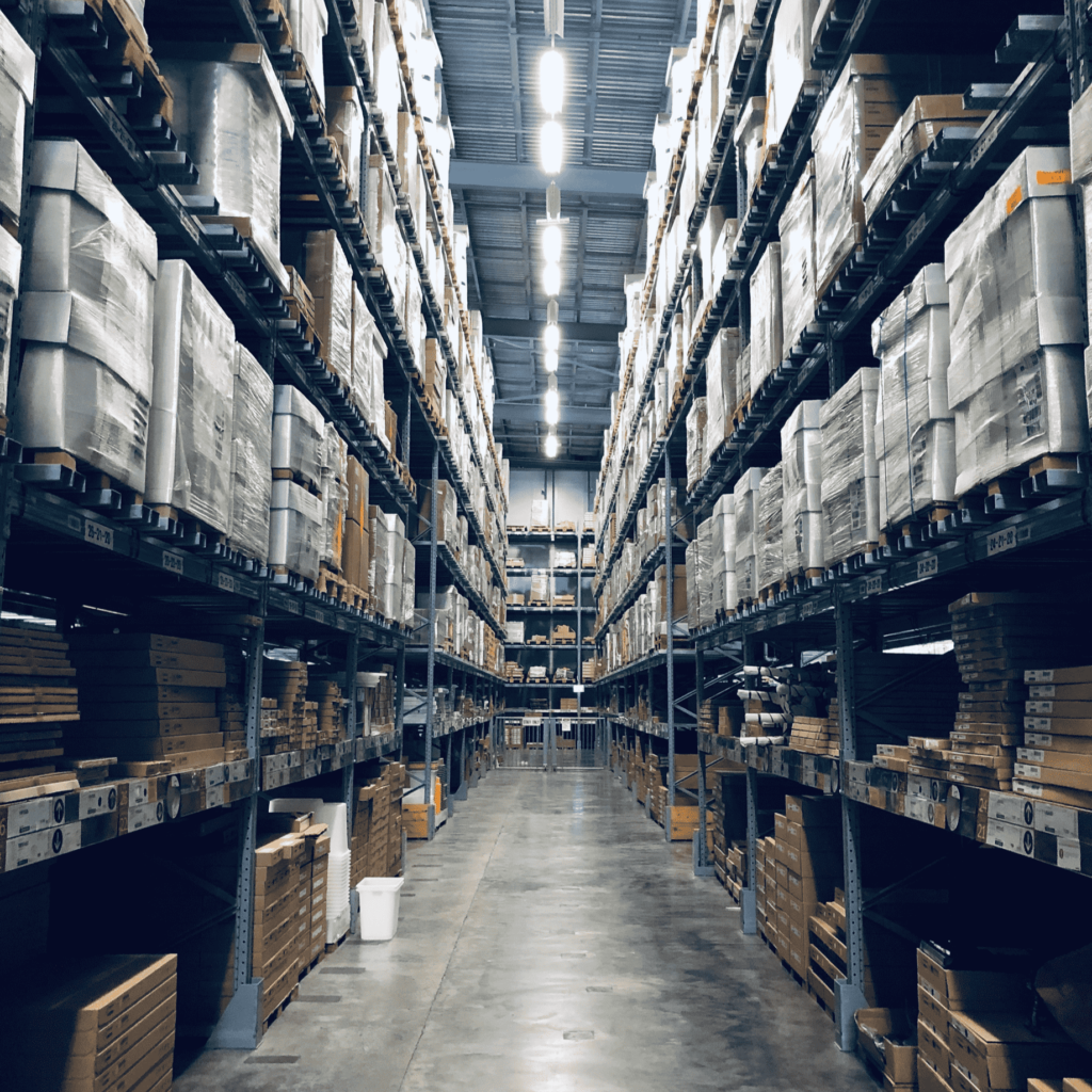 Warehouse with filled shelves