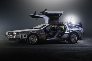 The DeLorean Time Machine as seen in Back to the Future