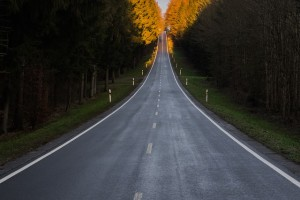 An empty road featuring traditional white road markings