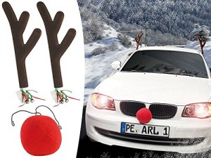 Funny reindeer antlers on a car