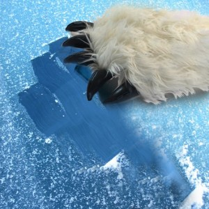 Furry yeti glove ice scraper