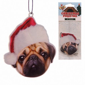 Air freshener cute pug in a Santa hat
