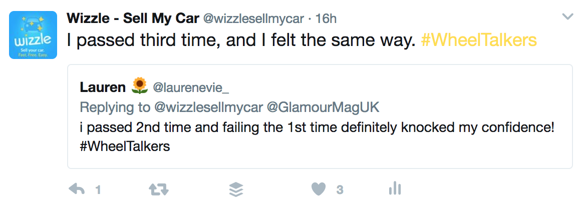 Tweet about failing your driving test