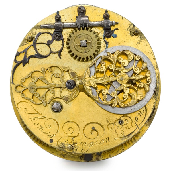 looking straight down at the top of a watch movement