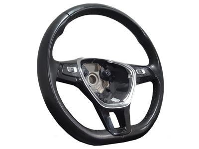 Volkswagen Polo 2014 On Leather Multifunction Flat Bottom Steering Wheel