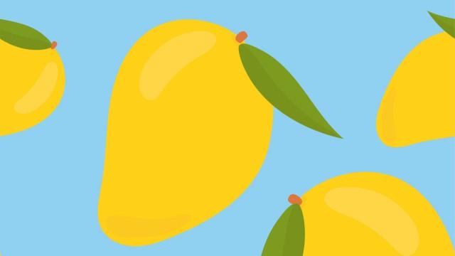 Illustration of mangoes floating on a blue background