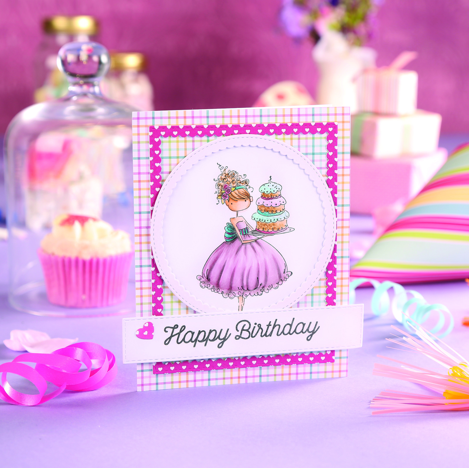 Super Happy Birthday Sweet Girly Birthday Cake Framed Panel Card Personalised Birthday Cards Beptaeletsinfo
