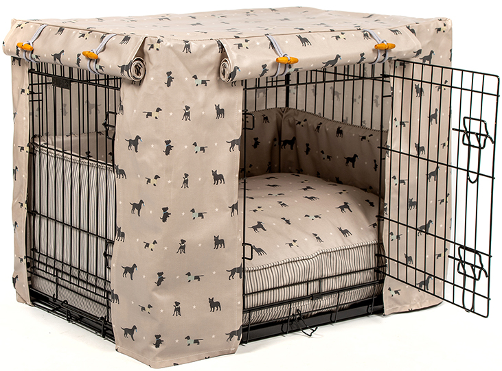 dog crate with handmade cover, cushion and bumper by Lords and Labradors.