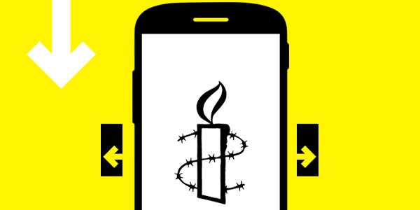 Image of mobile device with Amnesty logo