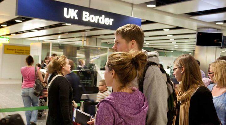 Tourists arrive at UK Border