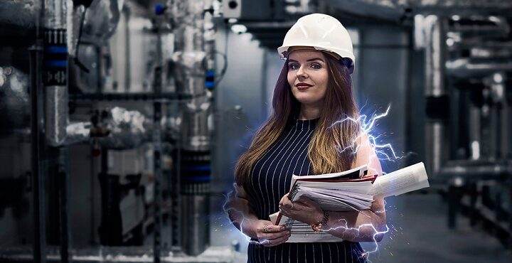 Apprenticeships campaign of image of young women in engineering environment