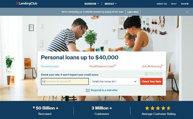LendingClub website lobby