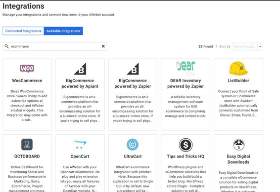 AWeber eCommerce Integrations