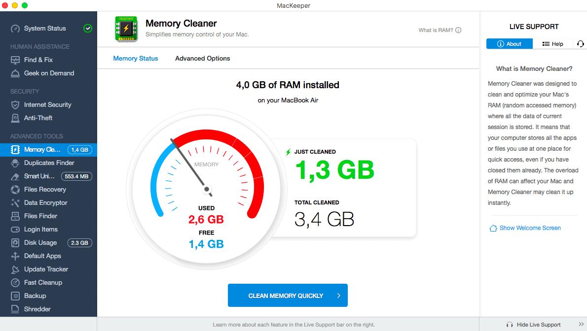 MacKeeper Memory Cleaner