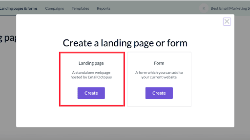 """Click """"Create"""" a landing page"""