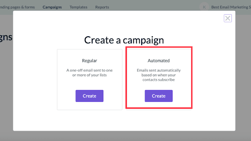 """Click """"Create"""" an automated campaign"""