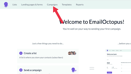 """In the top navigation bar, click on """"Campaigns"""""""