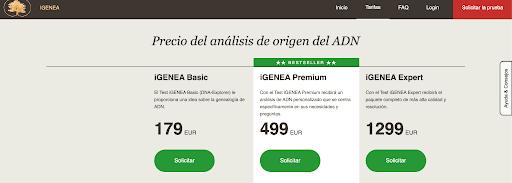 The three options iGenea offers.