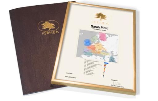 IGenea's DNA certificate.