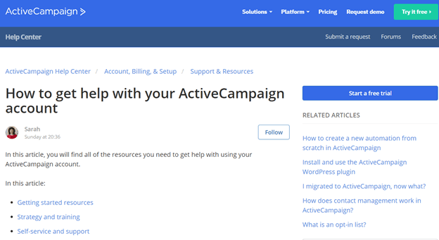 ActiveCampaign Customer Support