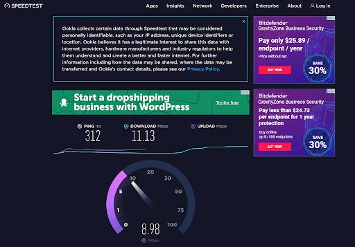 Bitdefender speed test