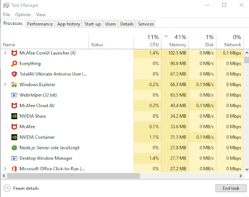 McAfee Task Manager
