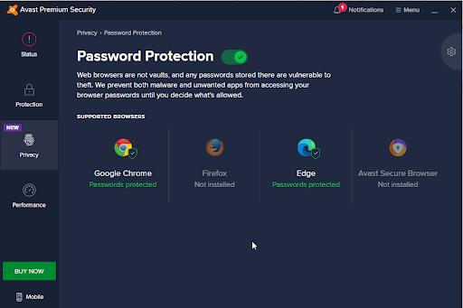 Avast password protection