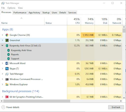 Kaspersky June 2021 CPU and RAM Utilization Update