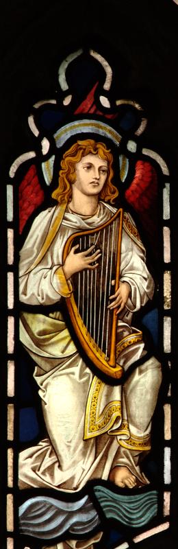 Brampton, angel playing round harp