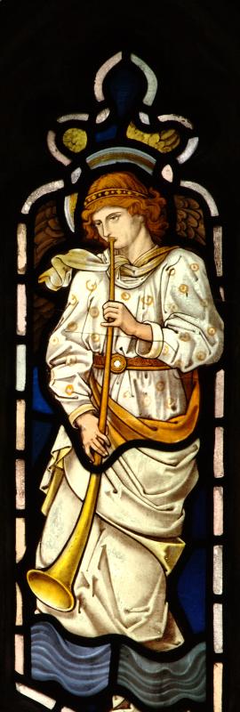 Brampton, angel playing trumpet