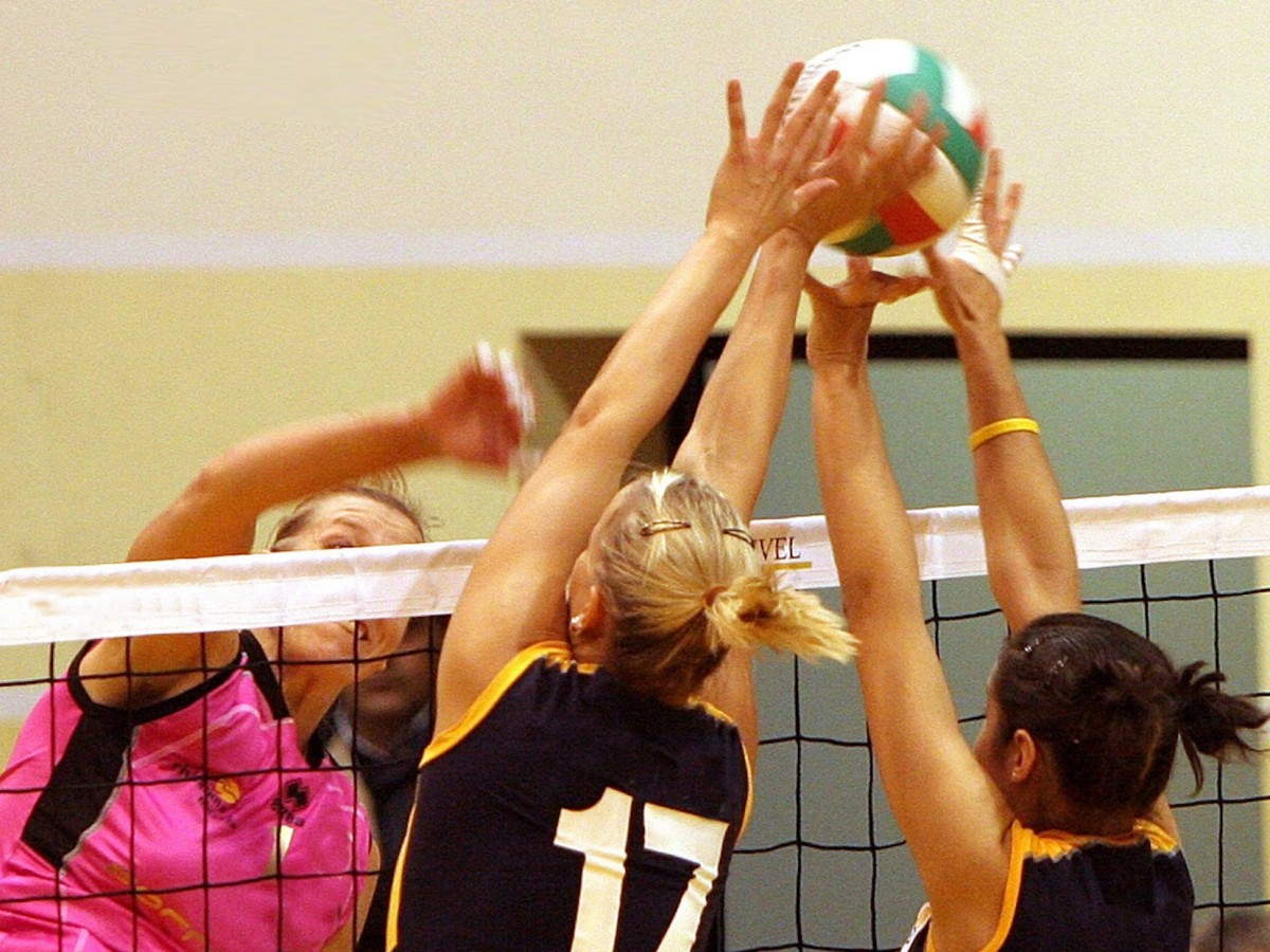 Three women right near the net have their arms up to hit the volleyball