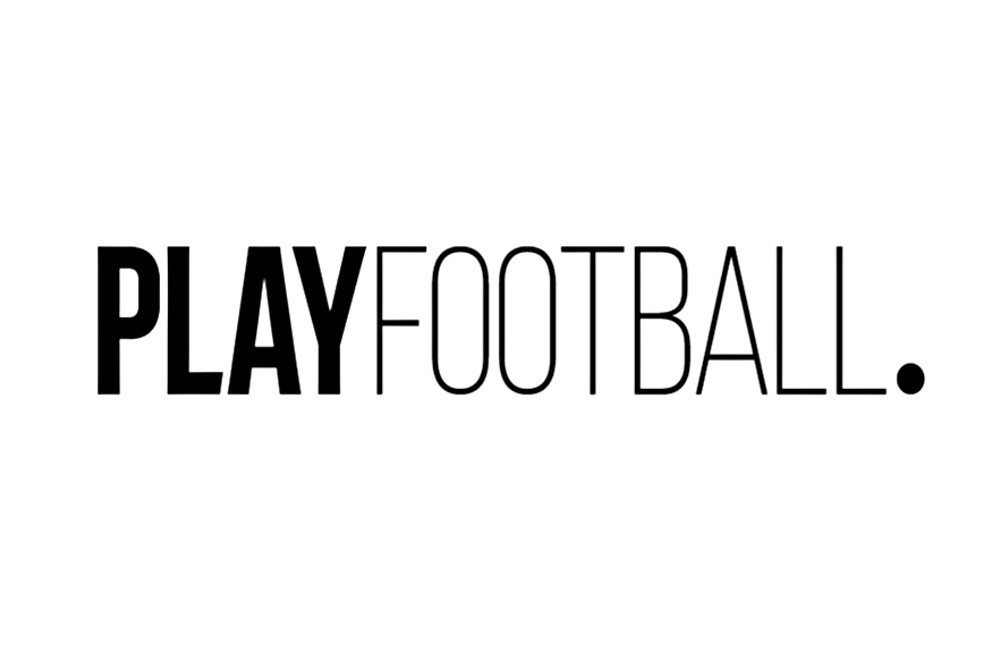 Black and white Play Football logo on a white background