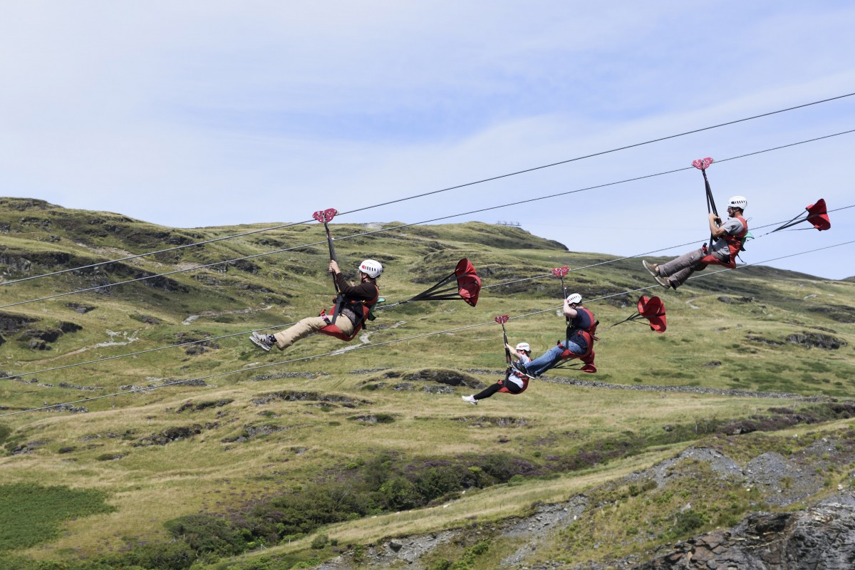Group of people on a zip line