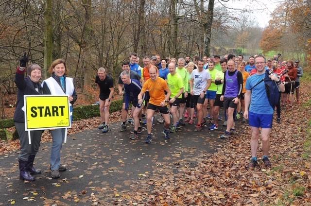 autumn parkrun runners on the start line
