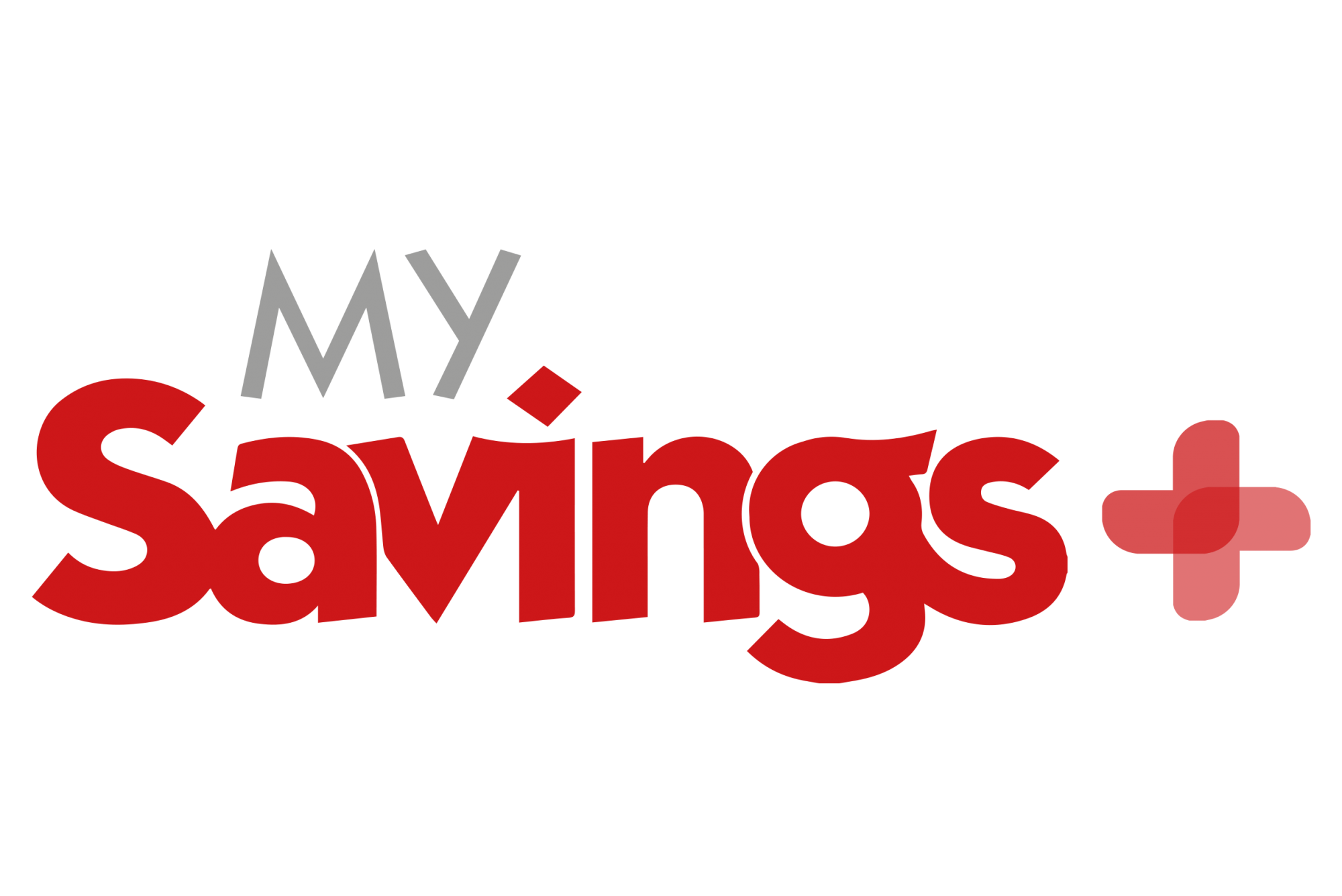 My savings plus logo, savings + is written in red