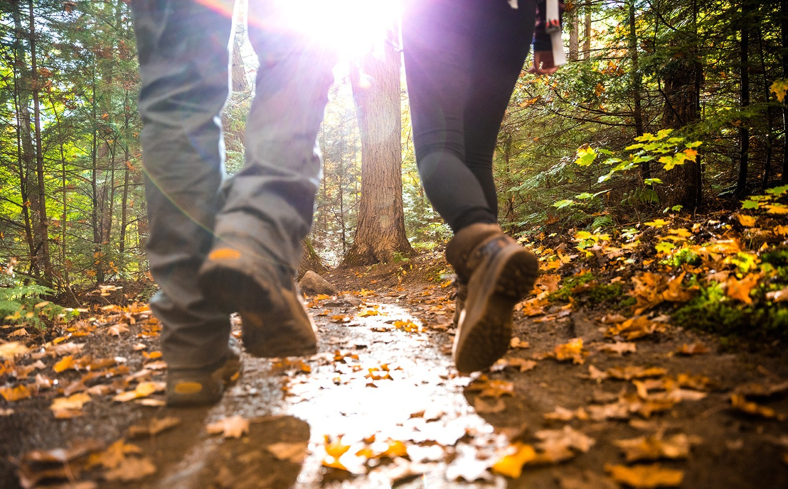 Two people in boots walking along a muddy path in a forest.