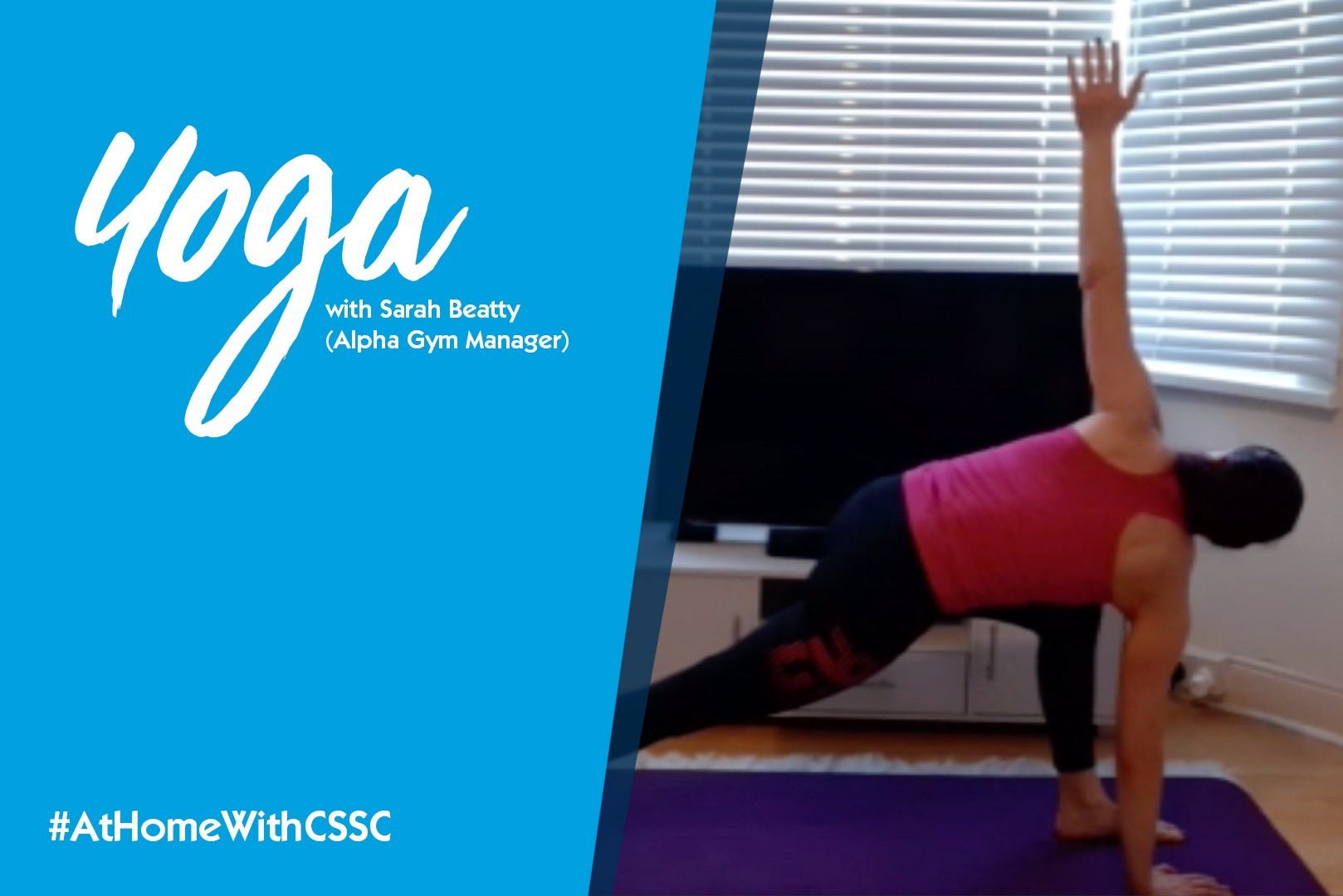 Yoga instructor taking a virtual class with a textual overlay cover the left side of the screen
