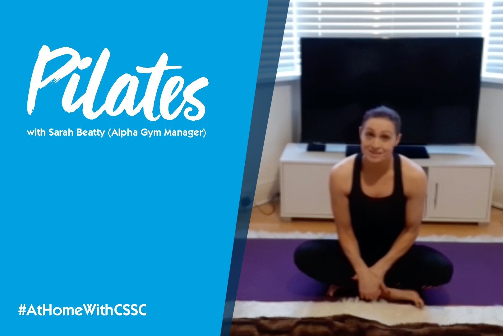 Pilates instructor taking a virtual class with a textual overlay cover the left side of the screen