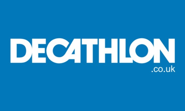DECATHLON logo, white text on a blue background