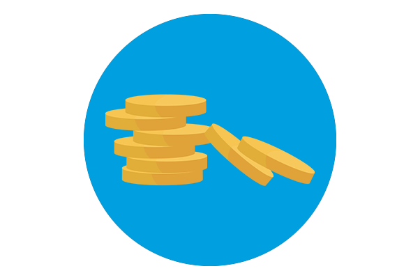 An icon of a stack of gold coins in a blue circle