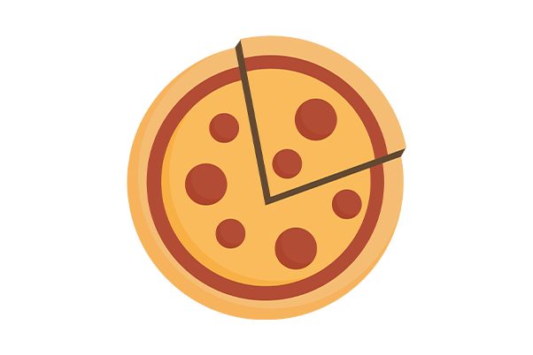 illustrated birds eye view of a pepperoni pizza