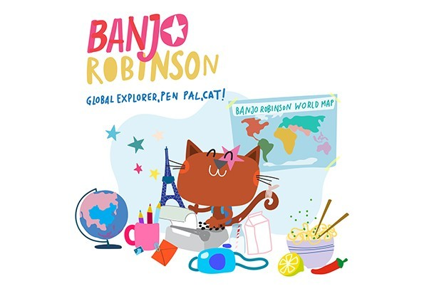 Pink and yellow Banjo Robinson logo with various items beneath; a globe, a map, a camera, a cat, a bowl of noodles and a pen pot