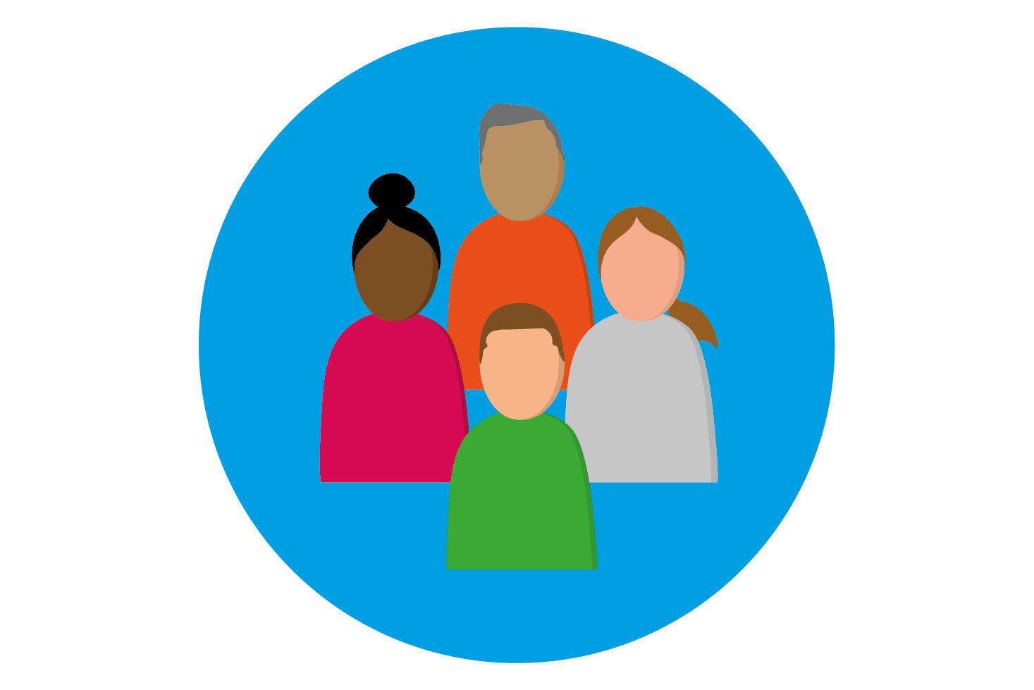 An icon of four abstract people in a blue circle