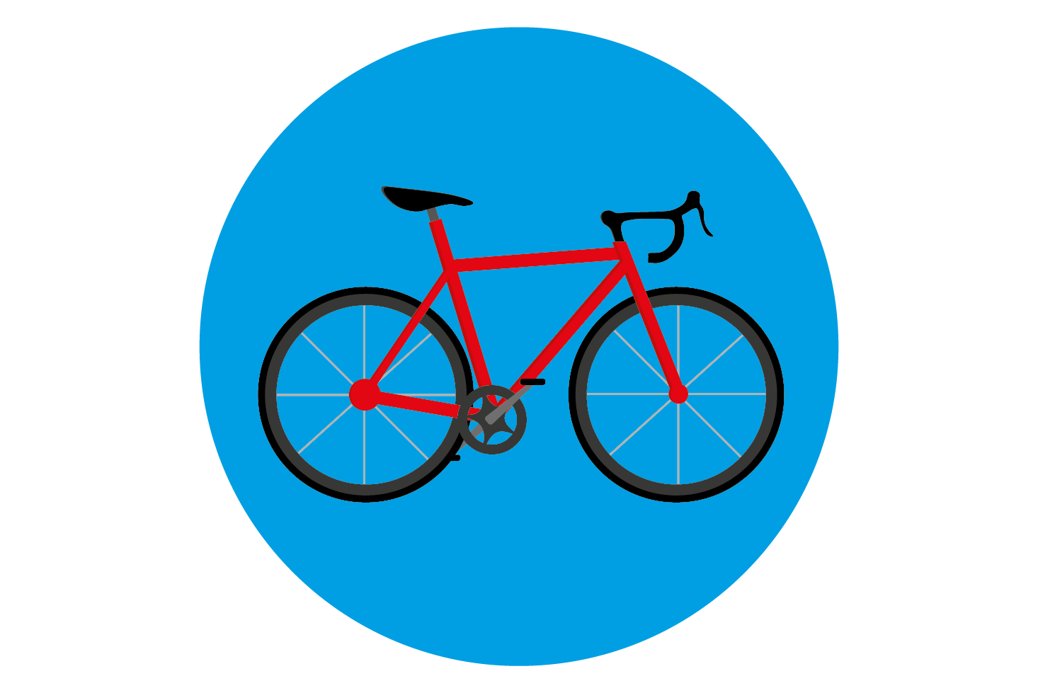Illustration of a red racing bike on a blue circle