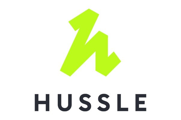 Lime green HUSSLE logo with black text on a white background