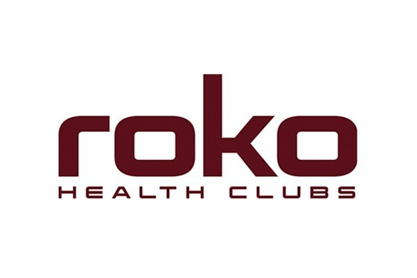 Maroon colour roko health club logo on a white background