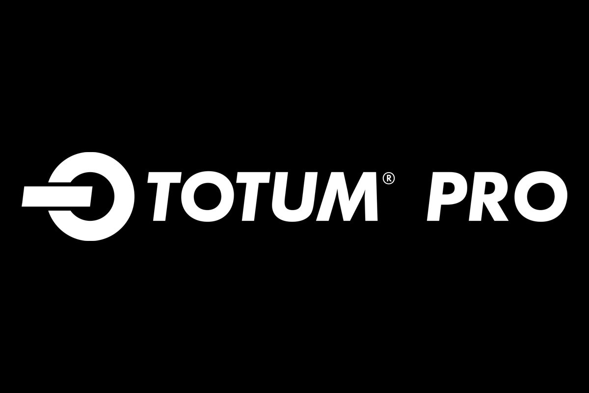 Totum Pro logo written in white on a black background