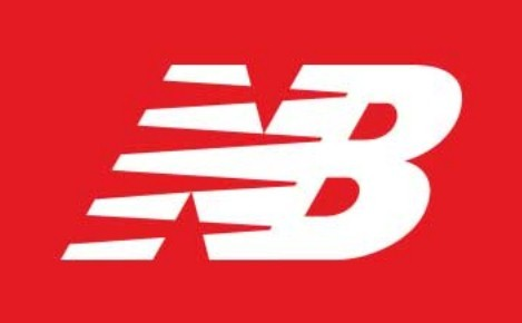 White New Balance logo on a red background