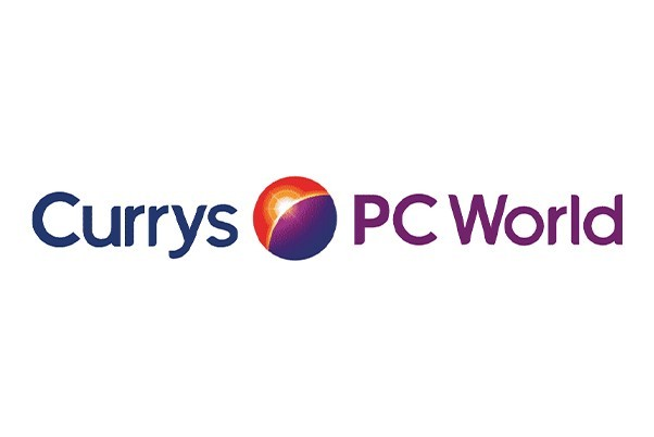 Currys logo on a white background